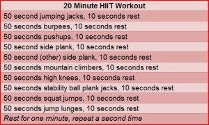 I substituted the jumping jacks out for more mountain climbers...